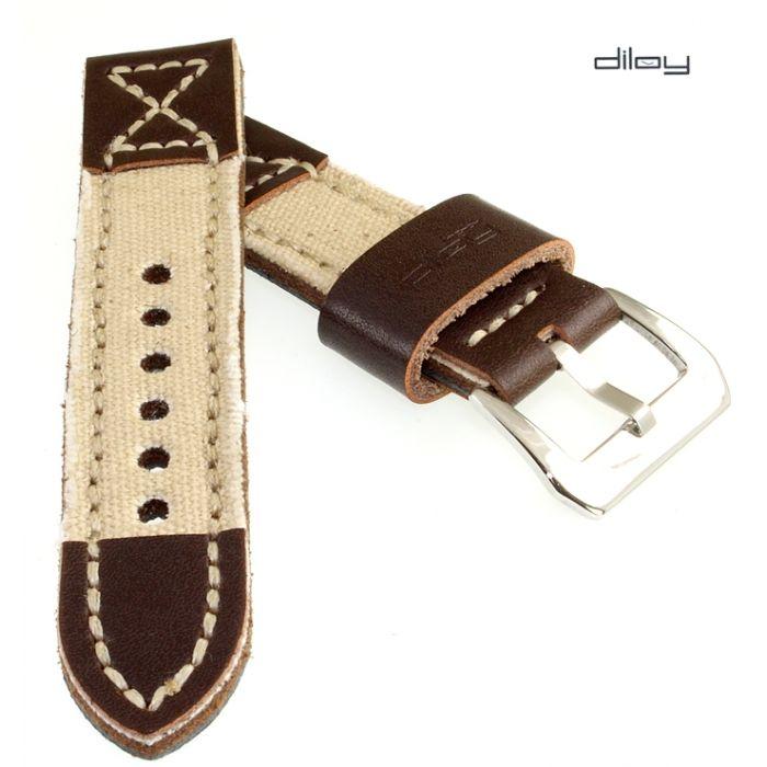 Diloy Jeans-Leder Uhrenarmband Modell Richmond-Pro beige 20 mm