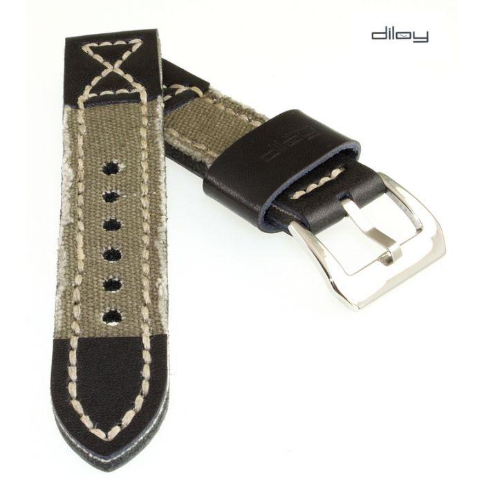 Diloy Jeans-Leder Uhrenarmband Modell Richmond-Pro oliv 22 mm