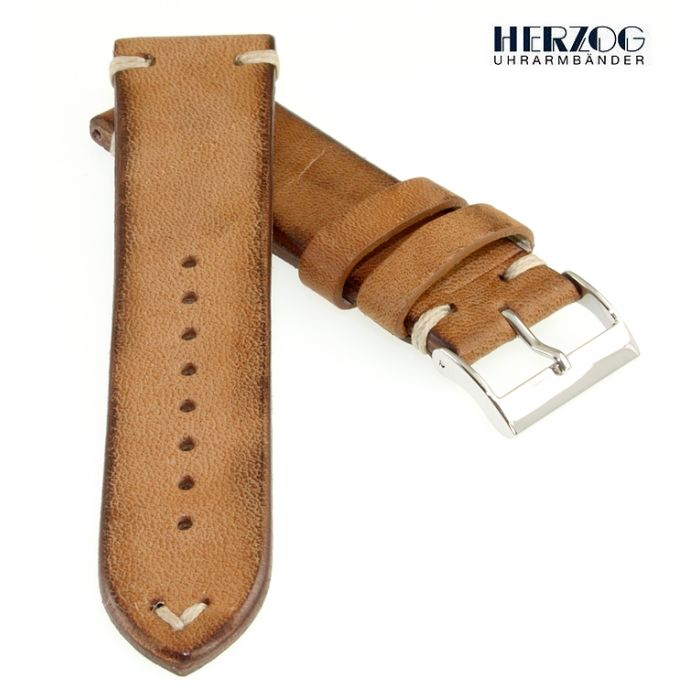 Herzog Pferdeleder Uhrarmband Modell Vintage-Horse creme