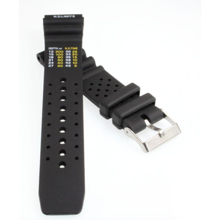 Sport-Taucher Uhrenband Kunststoff schwarz 24 mm mit Tauchtabelle