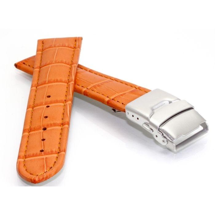 Alligator Uhrenarmband Modell Graz TiT schwarz 24 mm Sicherheitsschließe