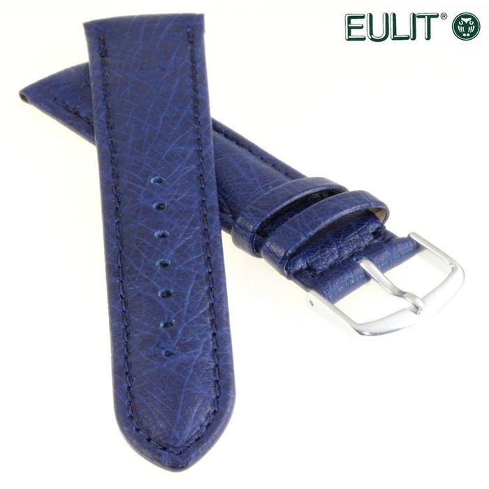 Eulit echt Strauß Uhrenarmband Modell Eco-Strauß blau 20 mm