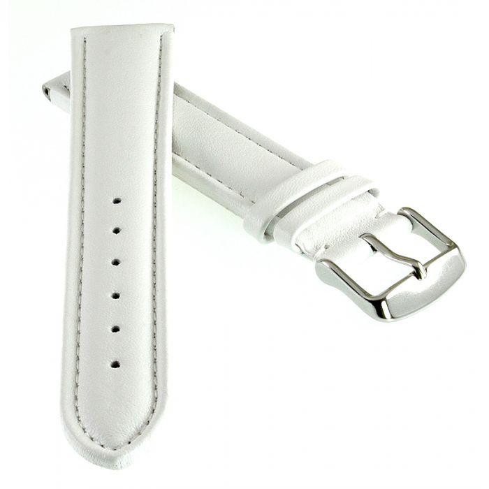 Französisches Kalbsleder Uhrenarmband Modell Basel-DS grau-WN 22 mm