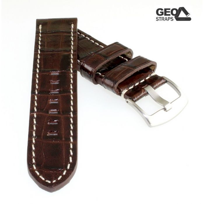GEO-Straps Kaiman-Kroko Uhrenarmband Modell Kaimano mocca 24 mm, extradick
