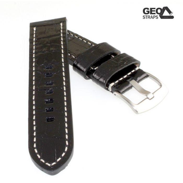 GEO-Straps Kaiman-Kroko Uhrenarmband Modell Kaimano schwarz 22 mm, extradick