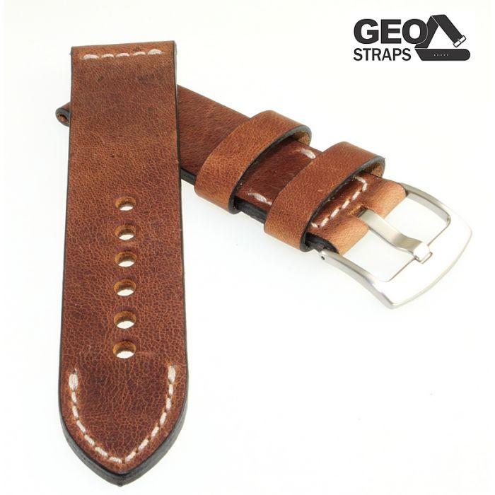 Rindleder Uhrenarmband Modell Calazio wasserfest dunkelbraun 22 mm