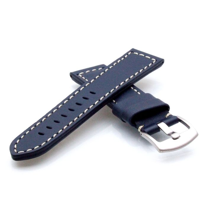TrendArt-24 Kalbsleder Flieger Uhrenarmband Modell Belgrad dunkelblau 18 mm