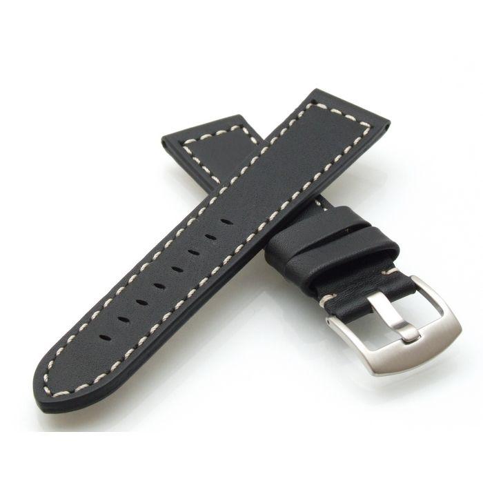 TrendArt-24 Kalbsleder Flieger Uhrenarmband Modell Belgrad schwarz 24 mm