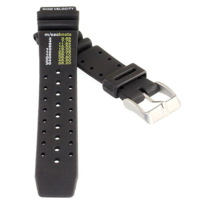 Segler Uhrenarmband Kunststoff Modell Knots schwarz 20 mm Windtabelle