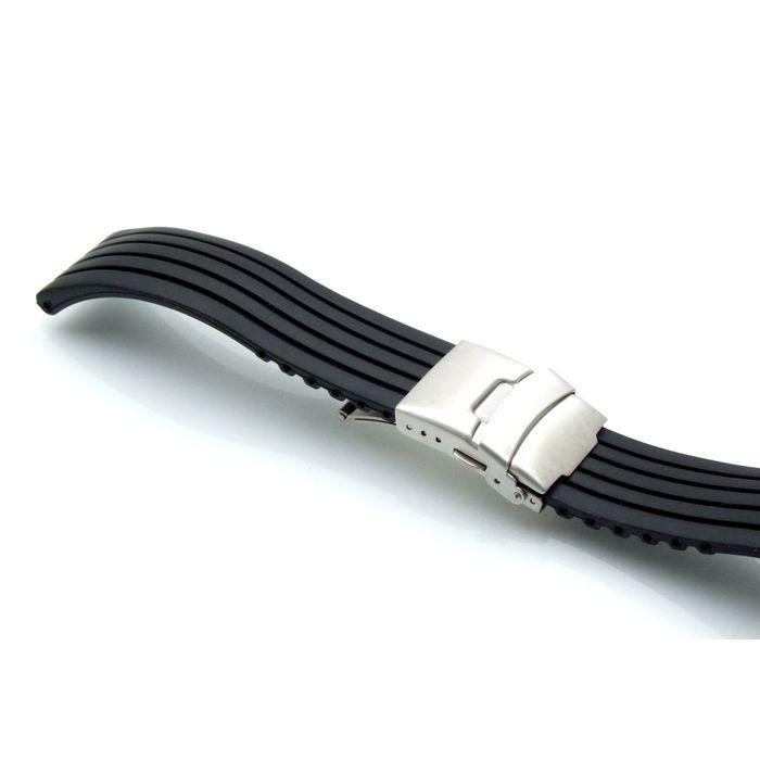 silikon uhrenarmband modell kreta schwarz 18 mm faltschlie e. Black Bedroom Furniture Sets. Home Design Ideas