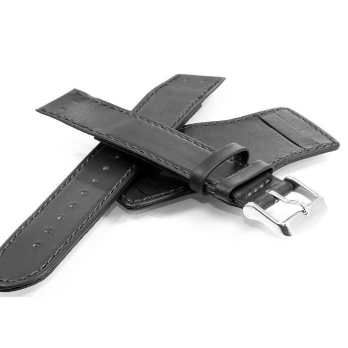 TrendArt-24 Uhrenarmband für feste Federstege mit Unterlage schwarz 22 mm