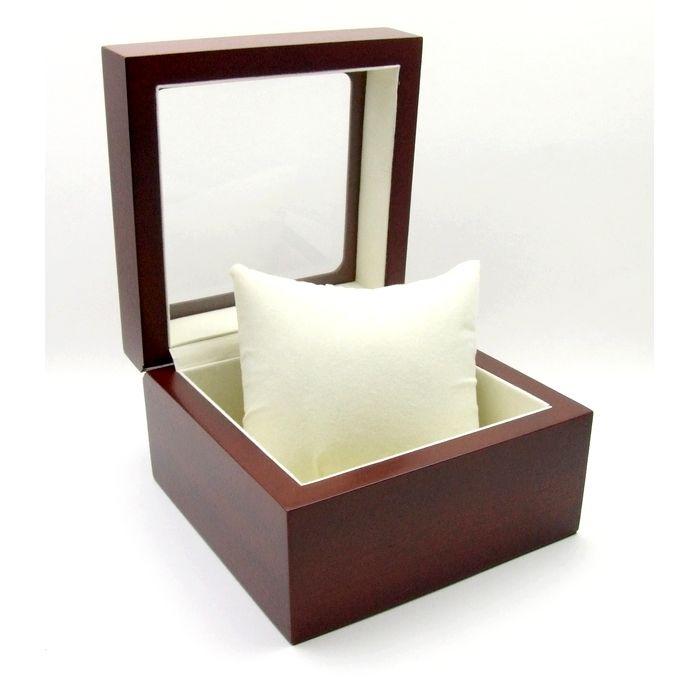 Uhrenbox für 1 Uhr mit Sichtfenster aus Echtglas, Mahagoni