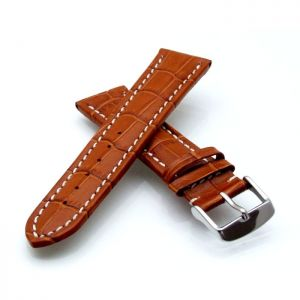 Alligator Uhrenarmband Modell Louisiana-NL cognac-WN 22 mm