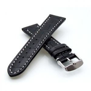 Alligator Uhrenarmband Modell Louisiana-NL schwarz-WN 24 mm