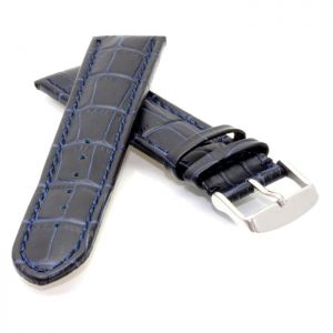 Alligator Uhrenarmband Modell Louisiana-XL dunkelblau-TiT 20 mm, extralang