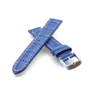 Alligator Uhrenarmband Modell Louisiana-XL blau-WN 26 mm, extralang
