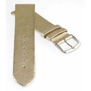 Biżuteria i Zegarki Design metallic Leder Uhrenarmband Modell Glamour perlmutt 18 mm Paski do zegarków