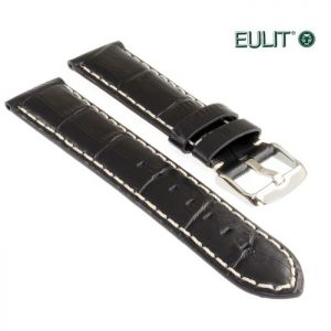 Eulit Louisiana-Alligator Uhrenarmband Modell Guinea-Chrono schwarz 24 mm