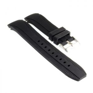 Silikon Rundanstoß Uhrenarmband Modell Round-FS schwarz 20 mm Faltschließe