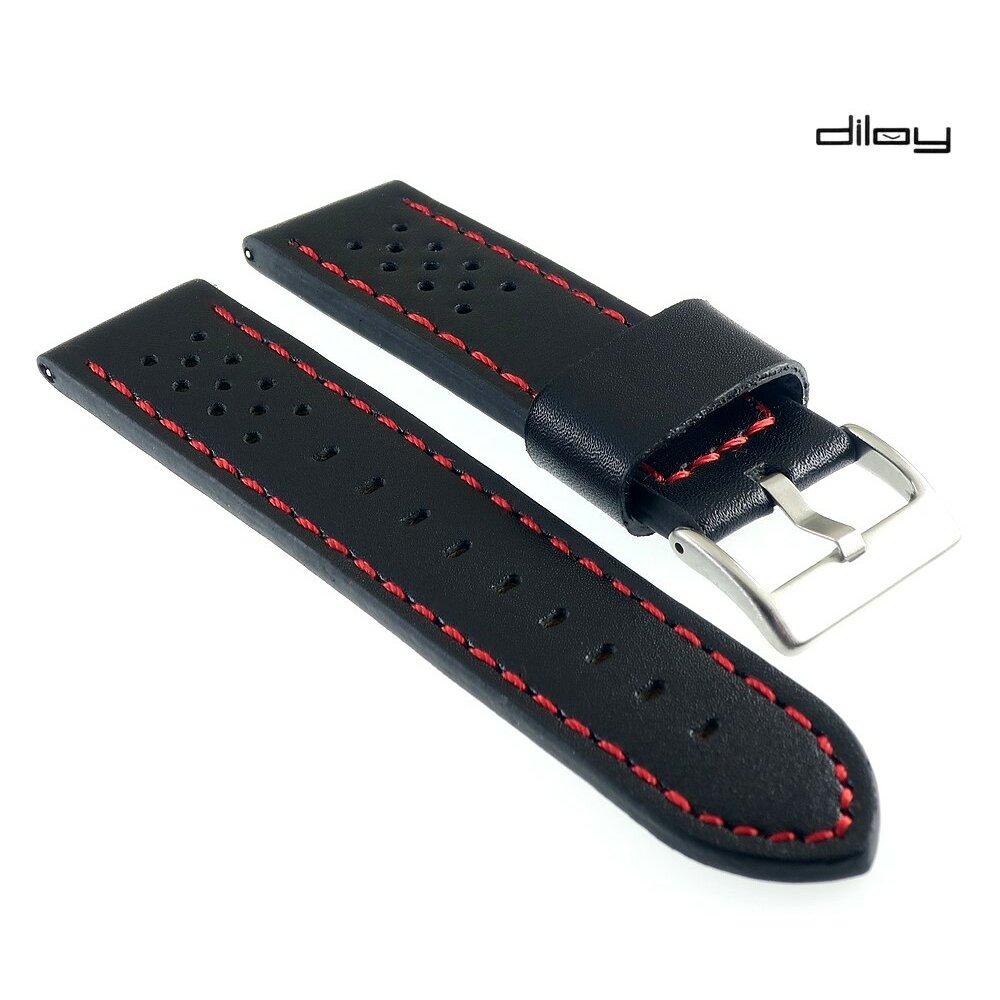 Französisches Softlederband Modell Sportiva schwarz-rot 18 mm-gelocht