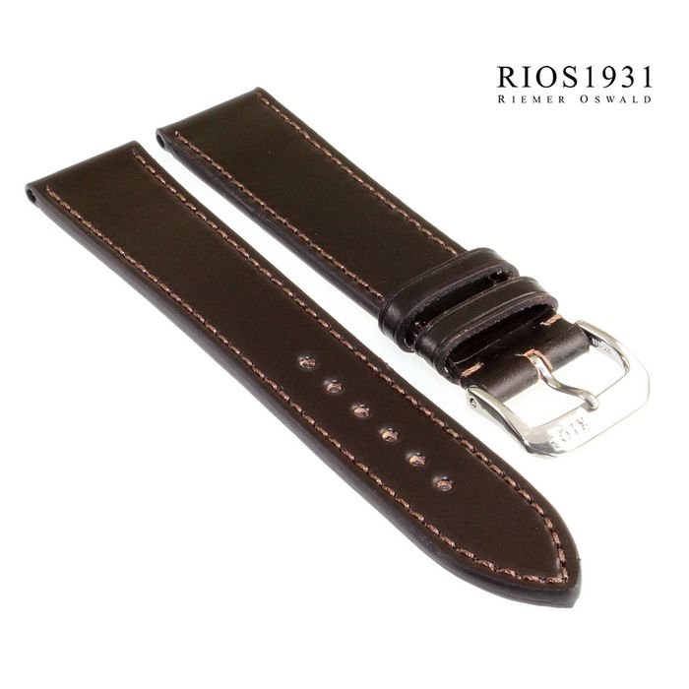Uhrenarmband  Kippfaltschließe-Leder glatt dunkelbraun 16mm,