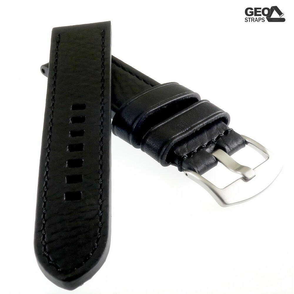 Rindleder Uhrenarmband Modell Beluga-Pito XL-extralang schwarz 22 mm