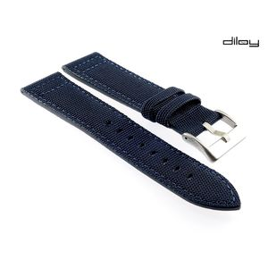 Diloy Canvas Textil Uhrenarmband Modell Discover blau 18 mm