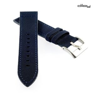 Diloy Canvas Textil Uhrenarmband Modell Discover blau 20 mm