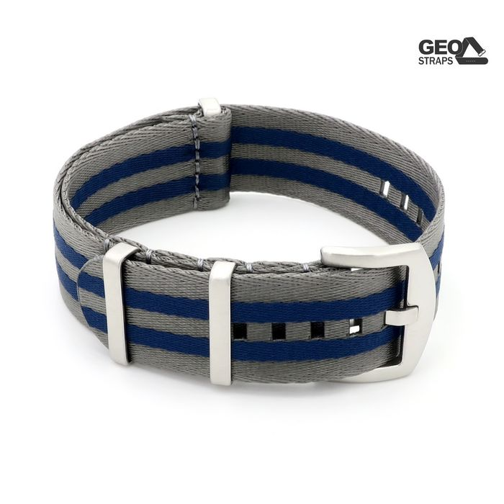 GEO-Straps Nato Nylon Uhrenarmband Modell Nitro blau-grau 20 mm