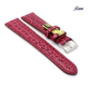 Fluco Limited-Edition echt Krokodil Uhrenarmband Modell Burma bordeaux-rot 18 mm