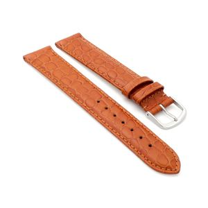 Feines Easy-Klick Alligator Leder Uhrenarmband Munich-XL extralang cognac 12 mm