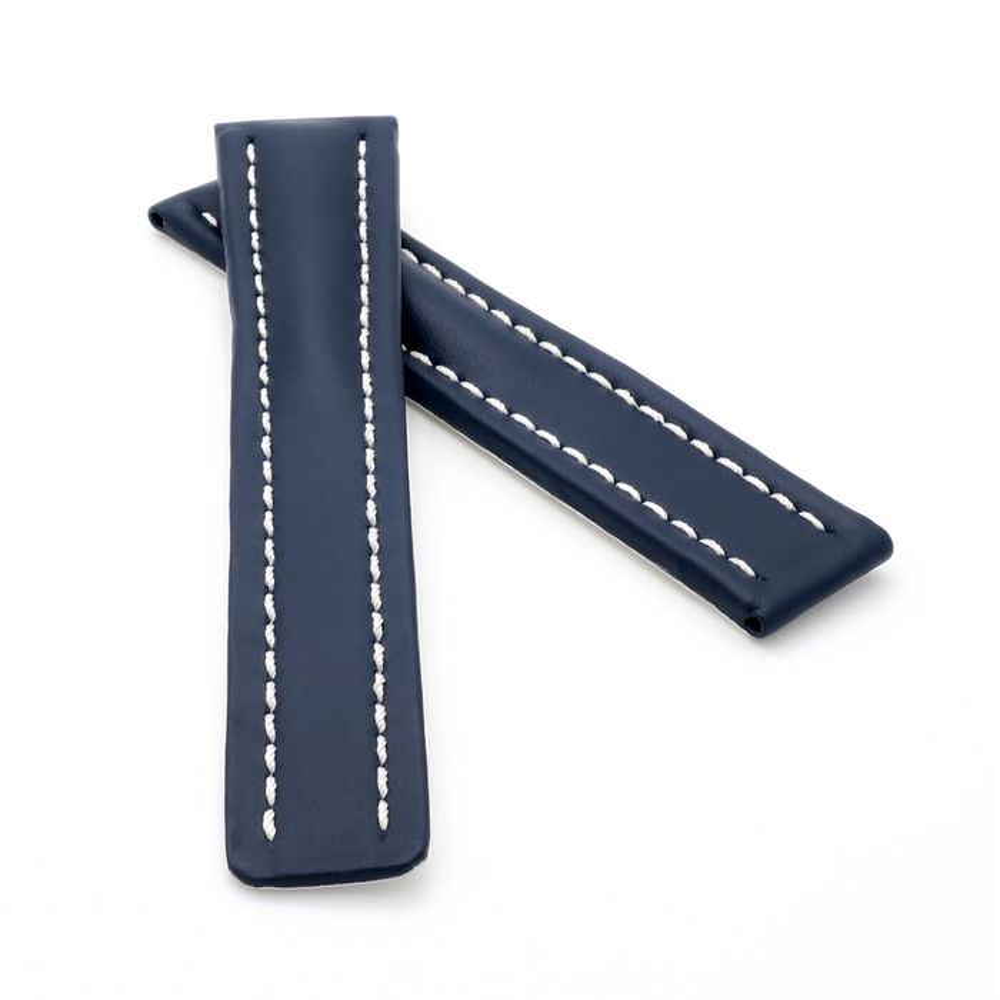 schwarz 10 mm breit Uhrenband Lederband Kalbsleder + 2 Stege Uhrenarmband