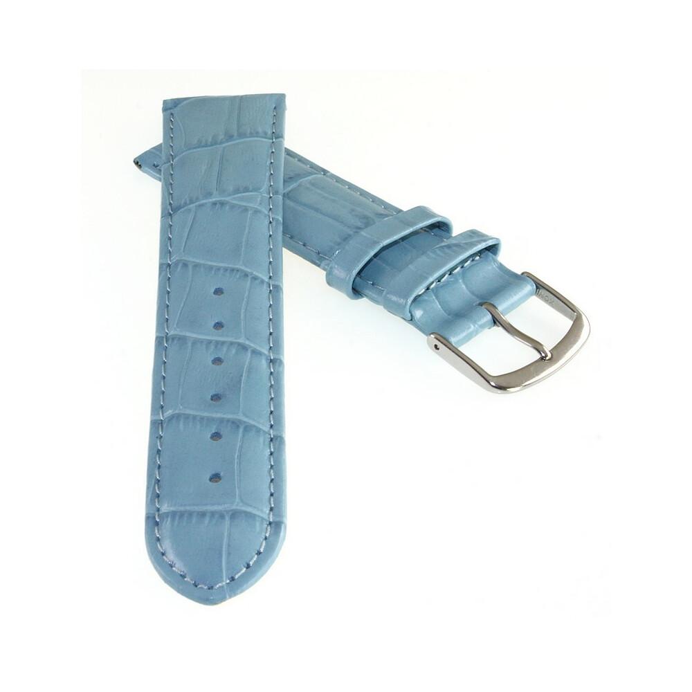 Feines Alligator Uhrenarmband Modell Genf-71S XL-extralang navy-blau 16 mm