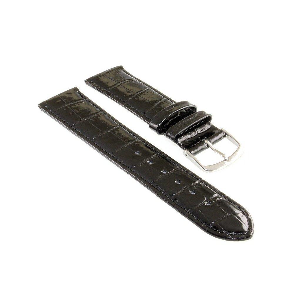 Französisches Kalbsleder Uhrenarmband Modell Basel-DS schwarz-WN 20 mm
