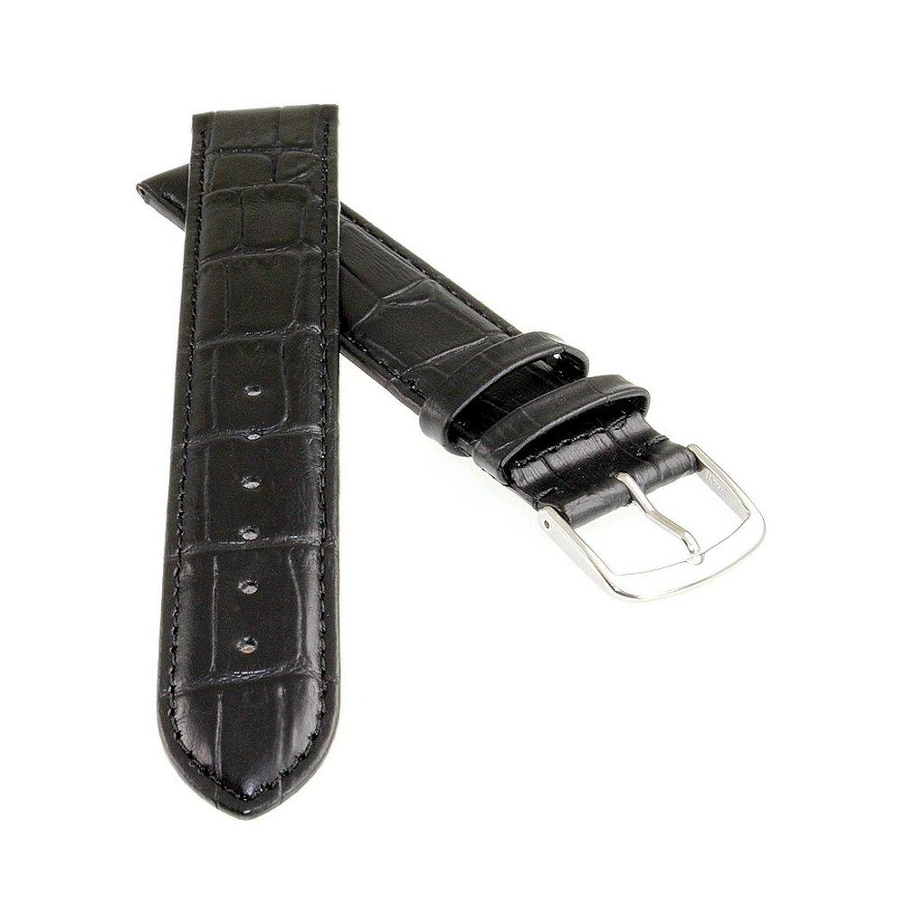 Feines Leder Uhrenarmband Lausanne-XS schwarz 22 mm
