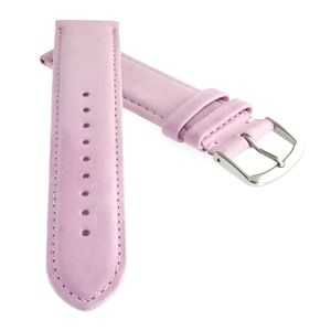 Feinstes Veloursleder Uhrenarmband Modell Ten-Lilas rosa 18 mm